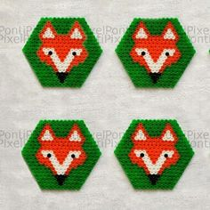 Fox coasters hama perler beads by pontipixel