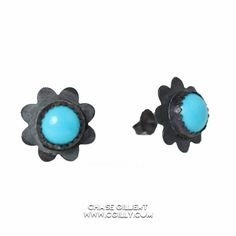 Sleeping Beauty Patina Flower Earrings (click to buy)