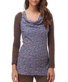 This Blue & Chocolate Brown Overlay Cowl Neck Top is perfect! #zulilyfinds