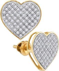 10K Yellow-gold 0.33CTW DIAMOND HEART EARRINGS