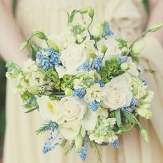 Bouquet created by Fairy Nuff Flowers  There is a distinctly vintage feel to this gentle and dainty bouquet, with Vendella roses, stock, wax...
