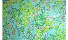 Lilly Pulitzer signature patterns 100%silk Skye Blue Heaven  fabric material