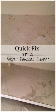 Do your cabinets need a quick fix? Here's my super cheap fix for water damaged cabinets in a bathroom or kitchen. | The Happy Housewife
