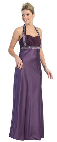 Eggplant Formal Gown Long Purple Military Ball Gown Halter Full length $98.99