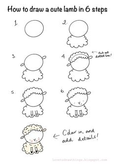 Love To Draw Things: How to draw a cute lamb in 6 steps Easy Animal Drawings, Easy Doodles Drawings, Easy Doodle Art, Easy Drawings For Kids, Simple Doodles, Cute Doodles, Drawing For Kids, Cute Drawings, Art For Kids