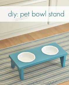 """cut circles in a wooden stool for the """"short"""" doggie!!"""