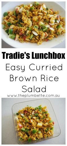 Tradie's Lunchbox - Easy Curried Brown Rice Salad - The Plumbette Veg Recipes, Light Recipes, Lunch Recipes, Salad Recipes, Vegetarian Recipes, Cooking Recipes, Healthy Recipes, Recipies, Brown Rice Salad