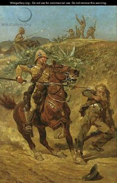 The Boer War by Richard Caton Woodville. The Boer war was first of the two wars fought between the English empire and the Boers (farmers) of the African region Transvaal. British Soldier, British Army, Military Art, Military History, Military Uniforms, Union Of South Africa, A4 Poster, Historical Pictures, African History