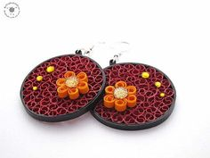 Paper earrings  red yellow shiny  round by QuillingWonderland, $25.00