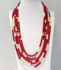 Gorgeous-5-Strand-6-7mm-White-Nearround-Natural-Freshwater-Pearl-And-Red-font-b-Coral-b.jpg (800×917)