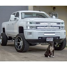 Lifted, White Pickup, offset, stance, GMC, Chevy, Chevrolet