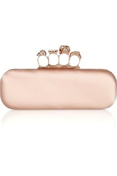 Alexander McQueen|Skull Swarovski crystal-embellished satin knuckle box clutch- Haha ghetto fab!