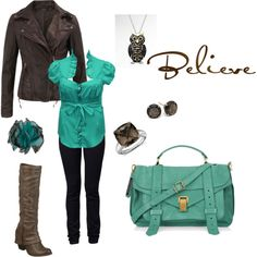 Brown and Teal Leather, created by erica-jade-noyes on Polyvore