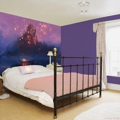 tangled wall paper. Not that bed... and itd be for my art room probably.