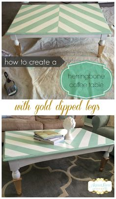 Create a beautiful, bold herringbone pattern on any table.  Step-by-step instructions on how to recreate this look on aqualanedesign.com  #aqualanedesign #coffeetable #herringbone #aqua #white #golddipped