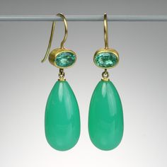 "A pair of  18 and 22k yellow gold ""Apple & Eve"" earrings with 1.45cttw deep mint green beryl and 38.27cttw chrysoprase drops.  Measures approximately 1.2 inches long."