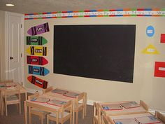 Always dreamed of having a blackboard/whiteboard on the walls for kids to go wild and write all over.  I may go as far as covering an entire WALL with blackboard paint!