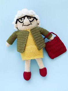 Crotcheted Old Lady Doll - free amigurumi crochet pattern by Lion Brand