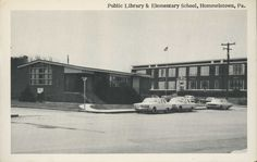 Public Library & Elementary School, Hummelstown, Pa. Postcard – LC-149 Black and white photo postcard picturing the Public Library and Elementary School in Hummelstown, PA., including some vintage automobiles.