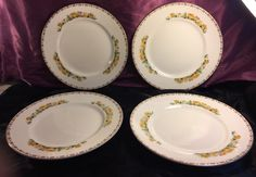 Vintage John Maddock & Sons Ltd. Vitreous Dinner Plate Set Gold Trim  | eBay