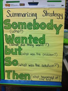 Summarizing strategy somebody wanted but so then anchor chart 2nd grade