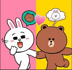 Cute Love Images, Cute Love Gif, Cute Couple Cartoon, Cute Love Cartoons, Bunny And Bear, My Teddy Bear, Line Brown Bear, Line Cony, Bear Gif