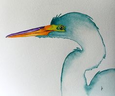 original bird painting bird art white egret nature art animal watercolor painting by Betty Moore
