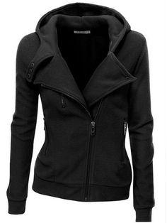 Clocolor women coat Solid Color Hooded Jacket Long Sleeve Women's Hoodie Zipper Fall Winter women coat