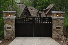 33 ideas for house entrance gate front entry House Gate Design, Gate House, Fence Design, Landscaping Design, Front Gate Design, Front Gates, Entrance Gates, House Entrance, Office Entrance
