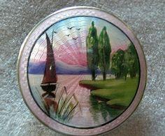 Finn Gaudernack (?) design for Gustav Gaudernack Workshop. Silver guilloché bonboniere with enamel painting of sailing boat on a lake.