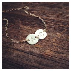 Personalized Sterling Silver Discs Necklace  - TWO initial Charm Necklace - Custom Monogram Necklace - Everyday Jewelry. $30.90, via Etsy.