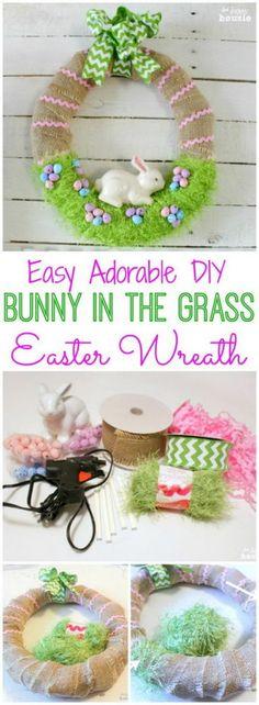3 DIY Bunny in the Grass Wreath