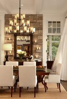 Rustic dining room, stone fireplace, www.ConspicuousStyle.com, www.SouthShoreDecorating.com- another chandelier possibility!