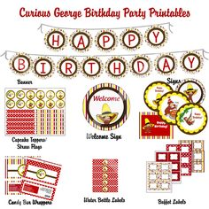 off - DIY Curious George Birthday Party Printable Package Curious George Party, Curious George Birthday, 3rd Birthday Parties, Baby Birthday, Birthday Book, Birthday Ideas, Birthday Packages, Monkey Birthday, Childrens Party