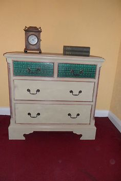 VINTAGE PINE PAINTED WOODEN CHEST OF 3 DRAWERS shabby chic DECOUPAGE