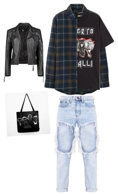 """U"" by georgiepaws on Polyvore featuring Uniqlo, Roberto Cavalli and Boohoo"