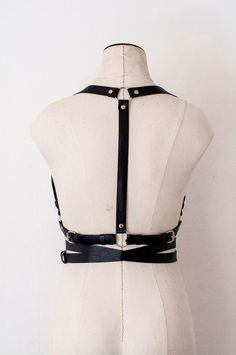Black Women Leather Harness with crossed by IRINALAZAREVAleather