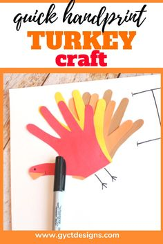 Help your family and friends show gratitude this Thanksgiving by making this simple Thankful chart. Plus, add a fun handprint turkey craft to make this gratitude activity fun and festive. Diy Crafts For Kids Easy, Craft Projects For Kids, Craft Activities For Kids, Kid Crafts, Kids Diy, Craft Ideas, Turkey Handprint, Thanksgiving Crafts For Kids, Turkey Craft