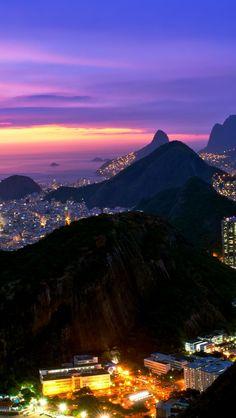 Rio De Janeiro Evening Lights Brazil