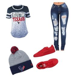 """Houston Texans"" by amyahmccray ❤ liked on Polyvore featuring 5th & Ocean, New Era and Puma"