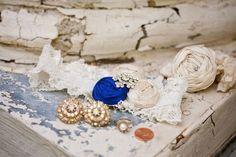blue rosette lace garter