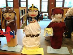 Biography Bottle Book Report Projects: Using a large recycled water or soda bottle, have your students create projects based on the famous person that they read about. These three bottles are: Amelia Earhart, Cleopatra, and Marco Polo. Fun and creative!