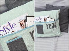 Ich fand die Idee, ein Kissen mit Fächern zu versehen irgendwie gut und hab sie mir zu eigen gemacht. Entstanden ist: Ein Lesekissen mit Bücherfach!