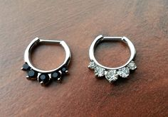 16g, 14g, Septum clicker combo, 2 clickers, black crystal, clear crystal by BloodLotus on Etsy https://www.etsy.com/listing/208047001/16g-14g-septum-clicker-combo-2-clickers