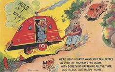 Vintage collectable linen travel trailer humor post card