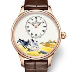 In 2014, Jaquet Droz launches three new Ateliers d'Art models that pay tribute to the sign of the Horse Jaquet Droz Petite Heure Minute to the sign of the Horse (See more at:http://watchmobile7.com/articles/jaquet-droz-petite-heure-minute-sign-horse) (2/6) #watches #jaquetdroz @Carla Jaquet Droz