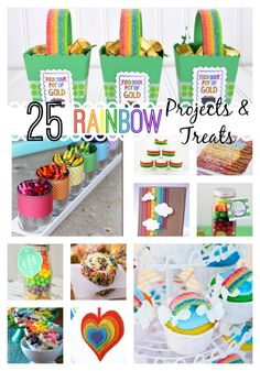 25 Rainbow Projects and Treats from your favorite bloggers!  Brought to you by createcraftlove.com #rainbow #stpatricksday #desserts #treats #spring