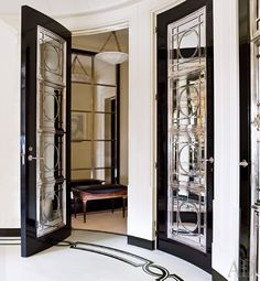 Leaded glass doors and floor detail.
