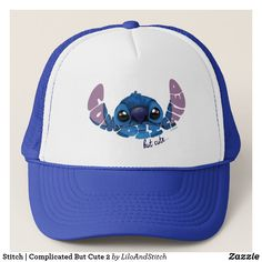 Stitch | Complicated But Cute 2 Trucker Hat. Special Classic Disney's Lilo and Stitch items to personalize for yourself or as a gifts to friends. #Disney #liloandstitch #birthday #gifts #personalize #shopping