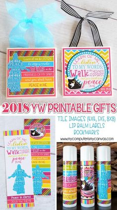 2018 YW Gift Set {Tile Art, Bookmark, Lipbalm} PRINTABLE, YW printables for the Peace in Christ Theme - SO CUTE!! #mycomputerismycanvas